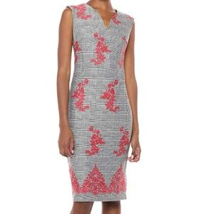 ** ECI Stretch Slip Midi Sheath Dress Embroidery